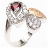 Silver Ring (Rhodium & Rose Gold Plated) w/ White & Garnet CZ