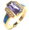 Silver Ring W/ Inlay Created Opal & White CZ