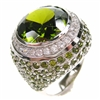 Silver Ring with Dark Peridot CZ