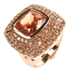 Silver Ring (Rose Gold Plated) with Champagne CZ
