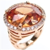 Silver Ring (Rose Gold Plated) with White & Champagne CZ