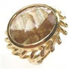 Silver Ring (Gold Plated) W/ Syn Rutilated Quartz