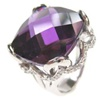 Silver Ring W/ Dark Purple CZ