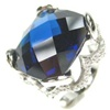 Silver Ring W/ Dark Blue CZ