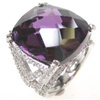 Silver Ring W/ Dark Purple And White CZ