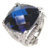 Silver Ring W/ Dark Blue And White CZ