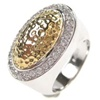 Silver Ring (Rhodium Plated +Gold Plated) W/ White CZ