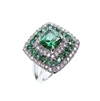 Silver Ring with White and Emerald CZ
