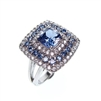 Silver Ring with White and Sapphire CZ