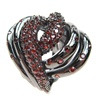 Silver Ring (Black Rhodium Plated) w/ Garnet Color CZ