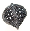 Silver Ring (Black Rhodium Plated) w/ Black & White CZ