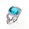 Sterling Silver Ring with London Blue Mystic Quartz and White CZ