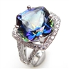 Sterling Silver Ring with Bluish Mystic Quartz and White CZ