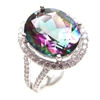 Sterling Silver Ring with Rainbow Mystic Quartz and White CZ