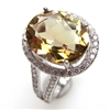 Sterling Silver Ring with Yellow Mystic Quartz and White CZ