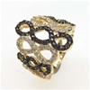 Silver Ring (Gold Plated) w/ White & Chocolate CZ