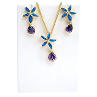 Silver Earrings (Gold Plated) W/ Inlay Created Opal and Tanzanite CZ