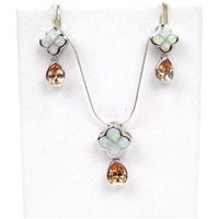 Silver Earring and Pendant Set (Rhodium Plated) W/ Inlay Created Opal and Champagne CZ