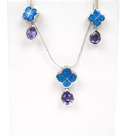 Silver Earring and Pendant Set (Rhodium Plated) W/ Inlay Created Opal and Tanzanite CZ