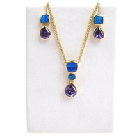Silver Earrings and Pendant Set (Gold Plated) W/ Inlay Created Opal and Tanzanite CZ