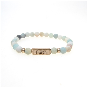"Inspirational Stretch Bracelet - ""Faith"" 6mm Green"