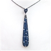 Silver Pendant (Black Rhodium Plated)  with Sapphire and White CZ