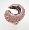 Silver Ring (Rose Gold Plated) w/ Pink & Amethyst CZ