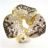 Silver Ring (Gold Plated) w/ White & Chocolate CZ (Orchid)