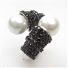 Silver Ring with Syc. Pearl and Black CZ