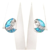 Silver Earrings with Inlay Created Opal and White CZ