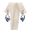Silver Earrings with Inlay Created Opal & Tanzanite CZ
