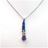 Silver Pendant with Inlay Created Opal, White & Tanzanite CZ