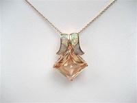 Silver Pendant (Rose Gold Plated) w/ Inlay Created Opal & Champagne CZ