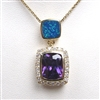 Silver Pendant (Gold Plated) w/ Inlay Created Opal & Tanzanite CZ