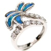Silver Ring (Rhodium Plated) w/ Inlay Created Opal & White CZ