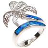 Silver Ring (Rhodium Plated) w/ Inlay Created Opal