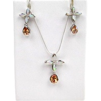 Silver Earrings and Pendant Set (Rhodium Plated) w/ Inlay Created Opal & Champagne CZ