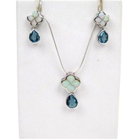 Silver Earring and Pendant Set (Rhodium Plated) W/ Inlay Created Opal and Blue Topaz CZ