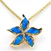 Silver Pendant (Gold Plated) w/ Inlay Created Opal